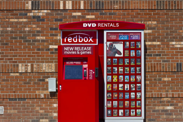 Indianapolis, US - June 13, 2016: RedBox Retail Kisok. RedBox Rents DVDs, Blu-Ray and Video Game Discs I