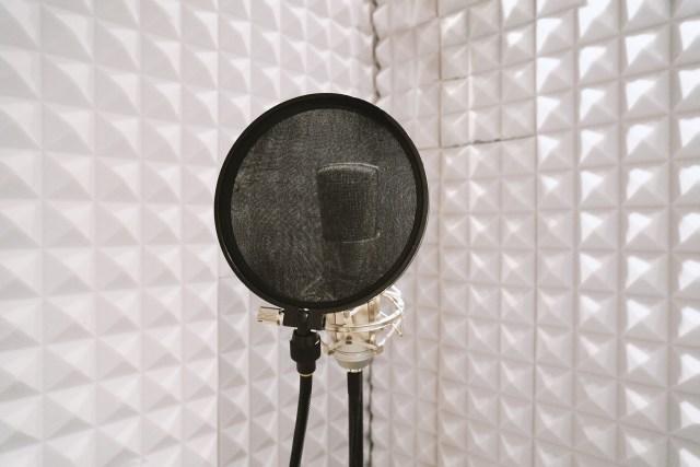 사운드 스튜디오에서 보컬 녹음을위한 방음 격리 부스의 마이크 스탠드에 팝 필터가있는 마이크