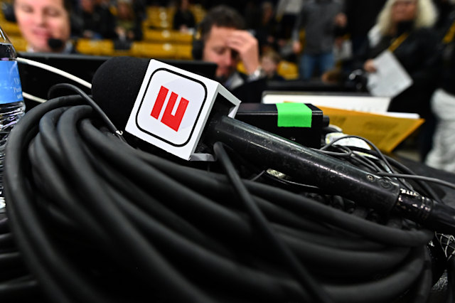 Jan 5, 2020; Boulder, Colorado, USA; General view of a ESPN broadcast microphone before the start of the game between the Oregon State Beavers against the Colorado Buffaloes at the CU Events Center. Mandatory Credit: Ron Chenoy-USA TODAY Sports