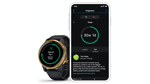 Pregnancy tracking on Garmin smartwatch and app
