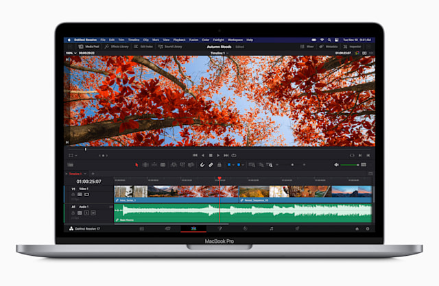 Promotional image of Apple's new M1-ified MacBook Pro running DaVinci Resolve