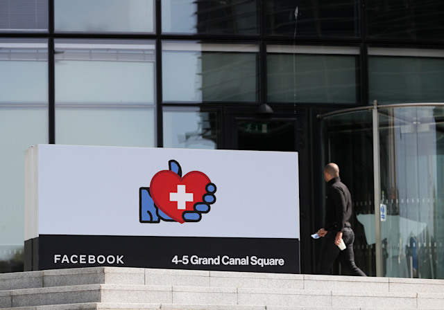 The changed logo outside Facebook's European headquarters in Dublin. (Photo by Brian Lawless/PA Images via Getty Images)