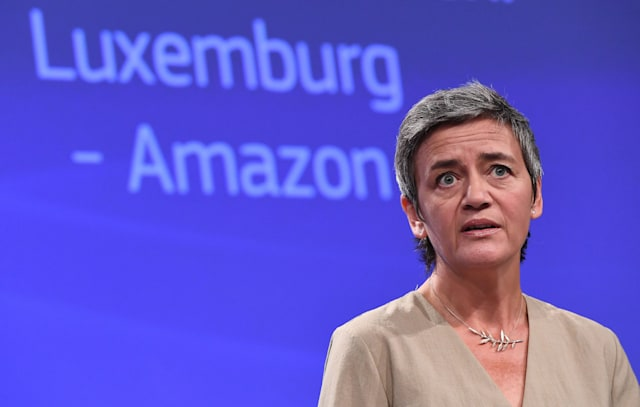 EU Commissioner for Competition Margrethe Vestager addresses a press conference on two state aid cases at the European Commission in Brussels on October 4, 2017. - The EU turned the screw on US tech giants on October 4, ordering Amazon to repay Luxembourg 250 million euros in back taxes and referring Ireland to the top EU court for failing to collect billions from Apple. (Photo by EMMANUEL DUNAND / AFP)        (Photo credit should read EMMANUEL DUNAND/AFP via Getty Images)