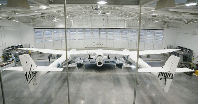 SpaceShipTwo and VMS Eve in the hangar of The Gateway to Space