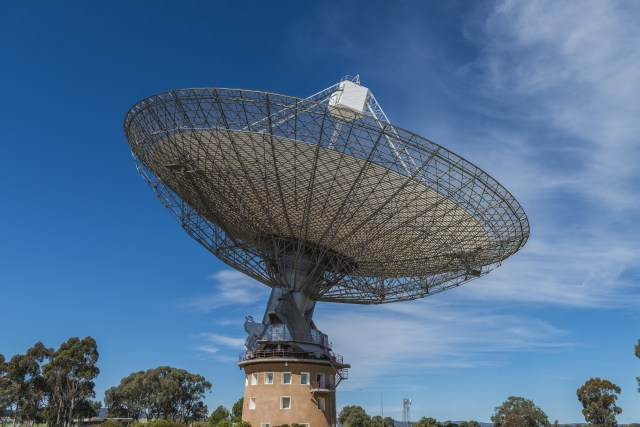 Parkes Radio Telescope - The radio telescope at Parkes, NSW, Australia, also known by its nickname,  The Dish. In 1969 it received television signals from the Apollo 11 moon landing and transmitted them to the world.