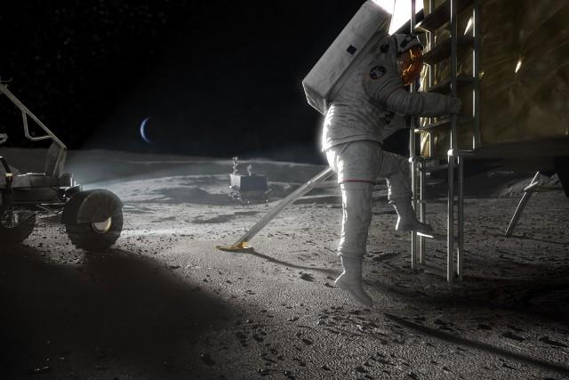 Conceito de EVA Artemis pousando na Lua