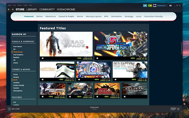 Steam Faceted Browsing