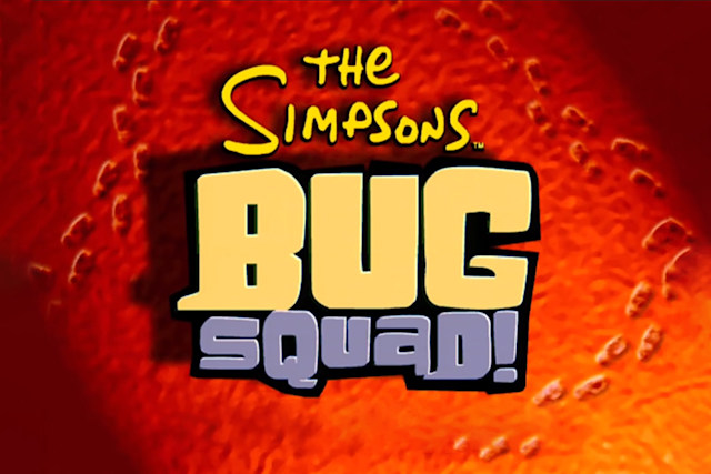 Title card for 'The Simpsons: Bug Squad' an unreleased game for the Sega Dreamcast from 2000.