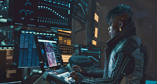 Cyberpunk 2077 video game promotional still.