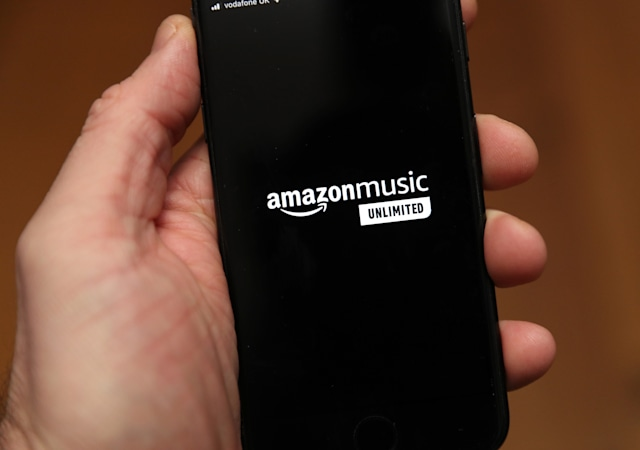 A person holds an iphone showing the app for Amazon Music. PA Photo. Picture date: Friday January 3, 2020. Photo credit should read: Andrew Matthews/PA Wire (Photo by Andrew Matthews/PA Images via Getty Images)