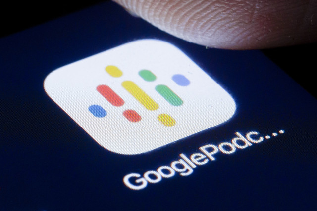 BERLIN, GERMANY - APRIL 22: The logo of GooglePodcast is shown on the display of a smartphone on April 22, 2020 in Berlin, Germany. (Photo by Thomas Trutschel/Photothek via Getty Images)