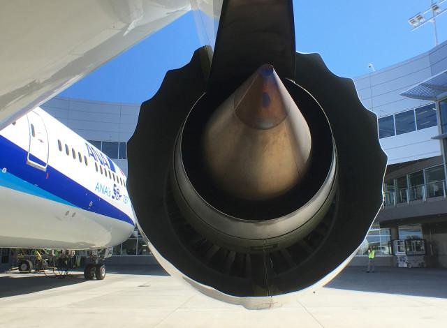 A Rolls-Royce engine is seen on a Boeing 787-9 Dreamliner owned by ANA Holdings Inc. in Everett, Washington, U.S. August 17, 2016. REUTERS/Alwyn Scott/File Photo