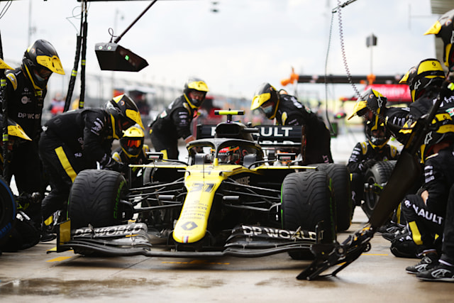 ISTANBUL, TURKEY - NOVEMBER 15: Esteban Ocon of France driving the (31) Renault Sport Formula One Team RS20 stops in the Pitlane during the F1 Grand Prix of Turkey at Intercity Istanbul Park on November 15, 2020 in Istanbul, Turkey. (Photo by Peter Fox/Getty Images)