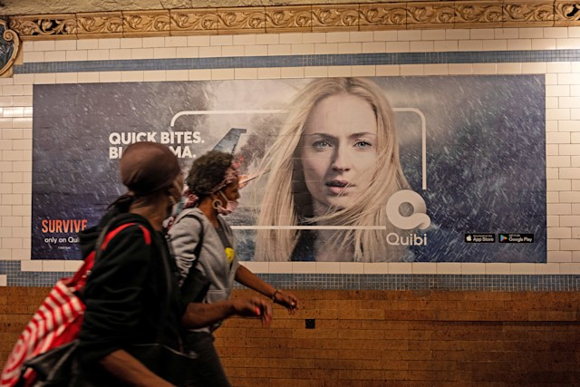 Quibi poster in a New York subway station.
