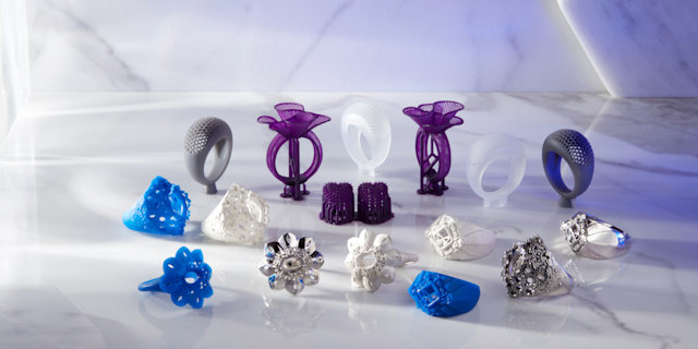 Group shot of rings made with Formlabs' new Castable Wax 40.