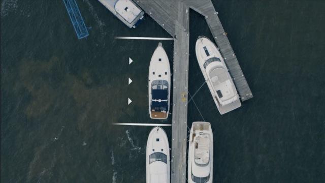 Image of a Volvo Penta vessel docking itself.