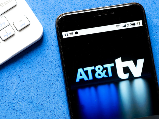 UKRAINE - 2020/05/31: In this photo illustration an AT&T TV logo is seen displayed on a smartphone. (Photo Illustration by Igor Golovniov/SOPA Images/LightRocket via Getty Images)