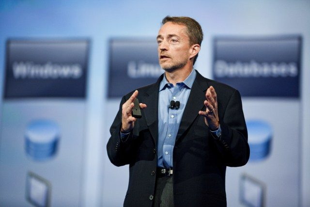 Incoming VMware CEO Pat Gelsinger addresses the crowd during a VMworld keynote presentation at the Moscone Center in San Francisco. Gelsinger replaces Paul Maritz, who will join EMC as a chief strategist. (Photo by Kim Kulish/Corbis via Getty Images)