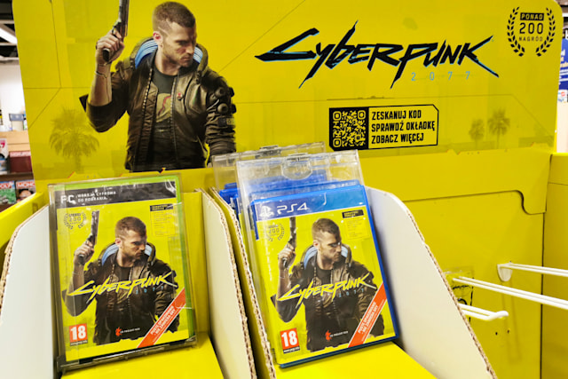 Video game Cyberpunk 2077 is pictured in a store in Krakow, Poland on December 14, 2020. A worldwide premiere of the game developed and published by CD Projekt Red took place on December 10, 2020. (Photo by Beata Zawrzel/NurPhoto via Getty Images)