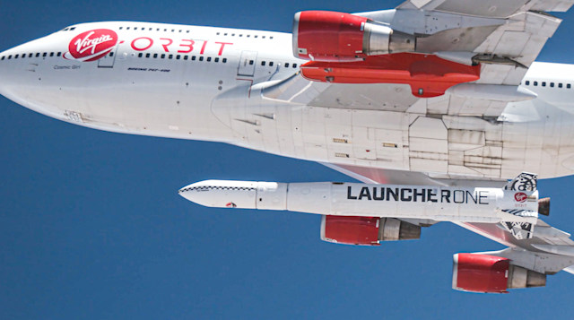 Virgin Orbit Cosmic Girl aircraft carries LauncherOne rocket
