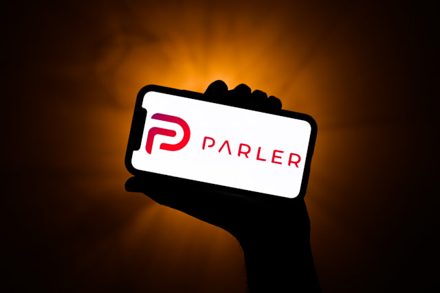 Parler app logo displayed on a phone screen is seen in this illustration photo taken in Poland on January 10, 2020. Tech giants Google, Apple and Amazon have blocked the Parler app from their platforms, as a dangerous for the public safety.  (Photo illustration by Jakub Porzycki/NurPhoto via Getty Images)