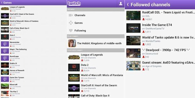 Twitch Android应用程序更新为持续登录,关注频道