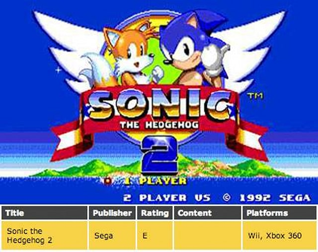 Esrb Sonic The Hedgehog 2 Rated E For Xbox 360 Engadget