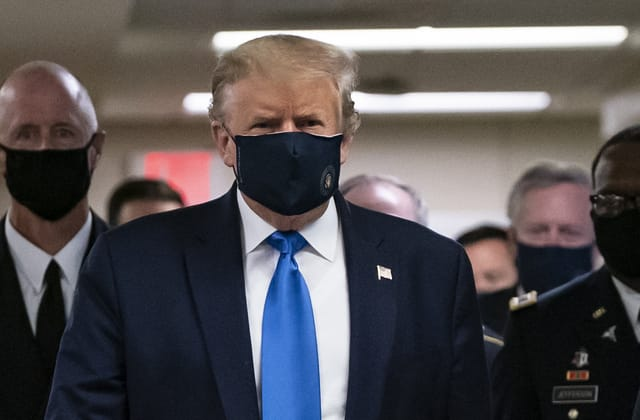Trump wears mask in public for first time in pandemic