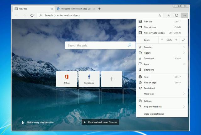 微软要把 Edge 浏览器带到 Windows 7 上