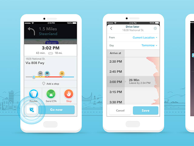 Waze helps you plan future trips based on expected traffic