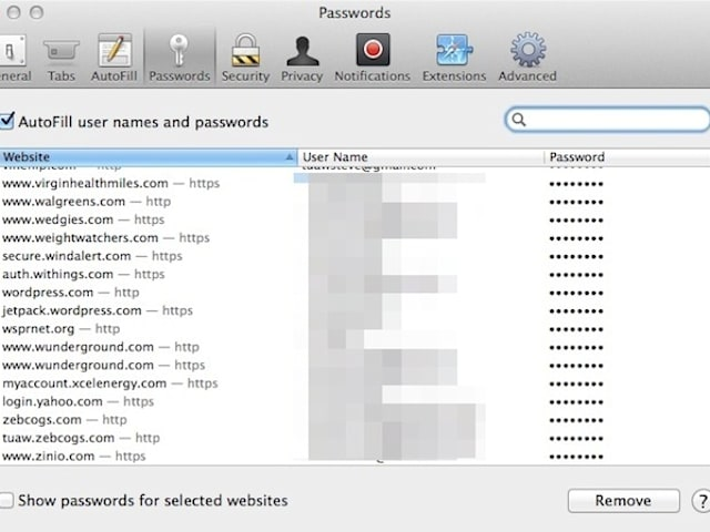 How to see the names, passwords, and credit cards Safari saves