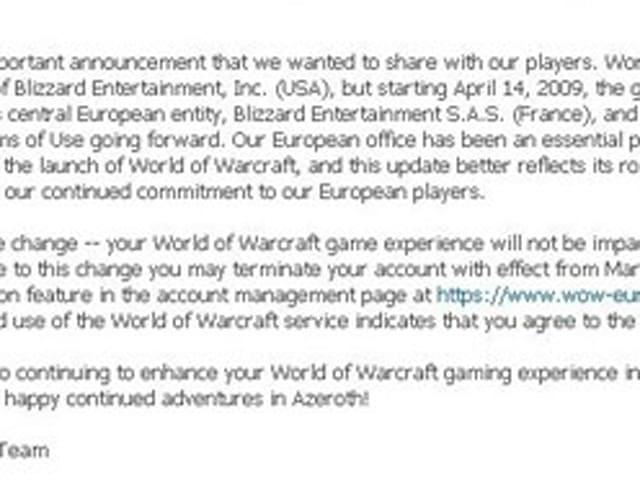 Blizzard S A S  (France) to publish WoW in the EU