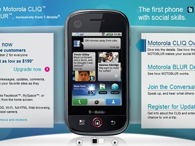 Motorola CLIQ available to T-Mobile customers now, great mes ... on