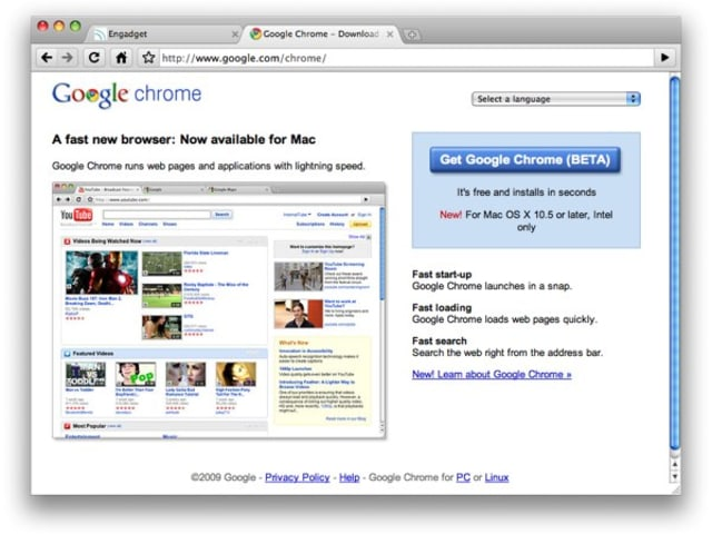 Google Chrome hits beta for Mac and Linux, extensions