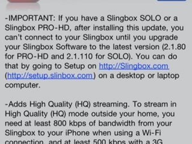 Slingplayer Mobile for iPhone updated to 2 0 with high