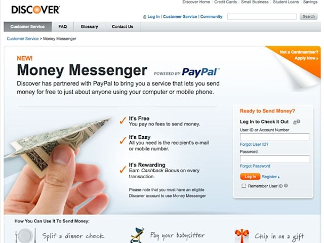 Discover cardholders can send money to anyone with a cell phone