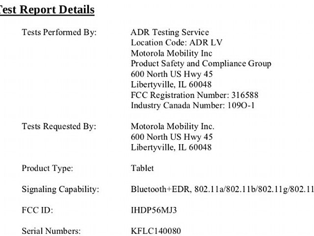 Mystery Moto tablet swings through the FCC, refuses to take any