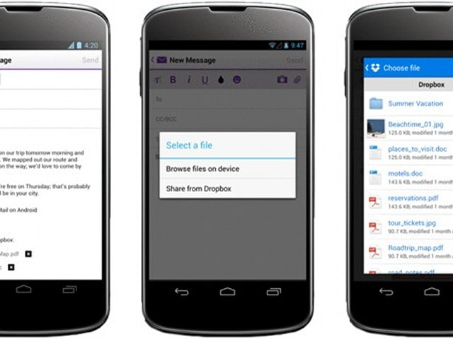 Yahoo Mail gets Dropbox file sharing on Android, multi-account