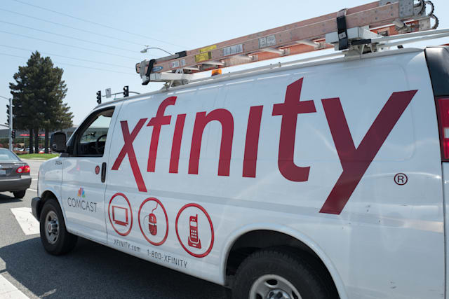 Truck with signage and logo for Comcast Xfinity internet and television service, in the Silicon Valley town of Santa Clara, California, August 17, 2017. (Photo via Smith Collection/Gado/Getty Images).