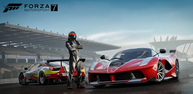 Forza Motorsport 7 Driver Posing By The Cars
