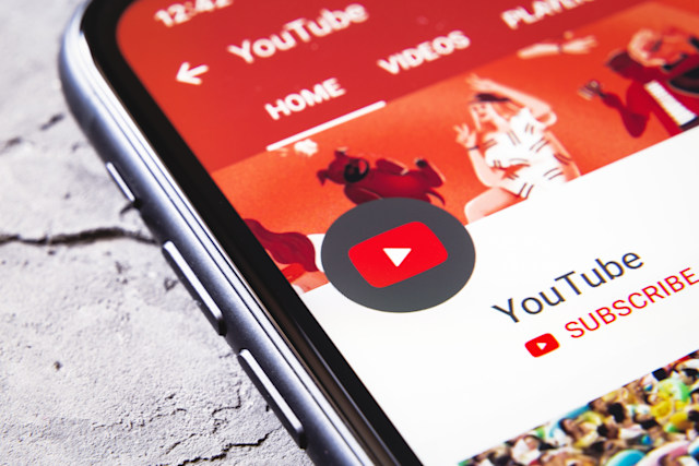 Tyumen, Russia - April 30,2019: YouTube App icon channel on iPhone XR