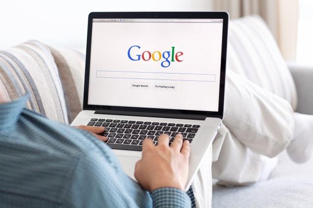 Simferopol, Russia - July 9, 2014: Google biggest Internet search engine. Google.com domain was registered September 15, 1997.