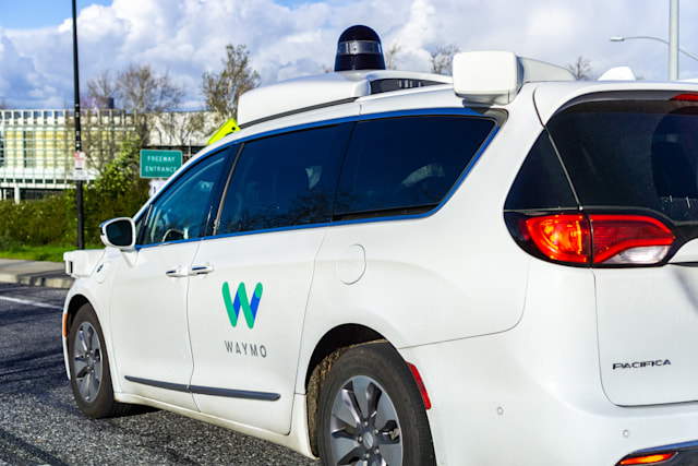 February 17, 2019 Mountain View / CA / USA - Waymo self driving car performing tests on a street near Google's headquarters, Silicon Valley