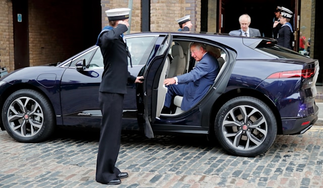 LONDON, UNITED KINGDOM - SEPTEMBER 05: (EMBARGOED FOR PUBLICATION IN UK NEWSPAPERS UNTIL 24 HOURS AFTER CREATE DATE AND TIME) Prince Charles, Prince of Wales gets into his new chauffeur driven Jaguar I-PACE fully electric car following a visit to the newly refurbished 'Maiden' Yacht at HMS President on September 5, 2018 in London, England. The 'Maiden' Yacht was used by the first all-female crew to sail in the 1990 Whitbread Round the World Race in which they finished second. (Photo by Max Mumby/Indigo/Getty Images)
