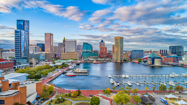 Baltimore, Maryland, USA Downtown Skyline Aerial.