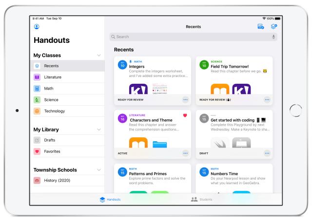 Apple Schoolwork 2.0.