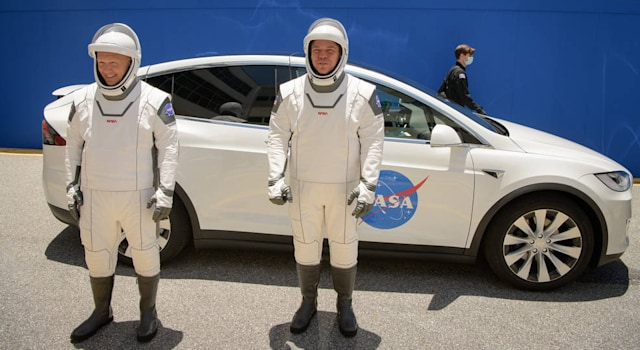 NASA astronauts in SpaceX spacesuits