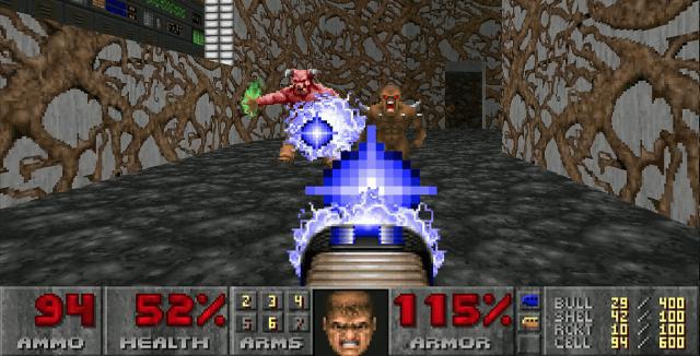 A screenshot of Doom gameplay.
