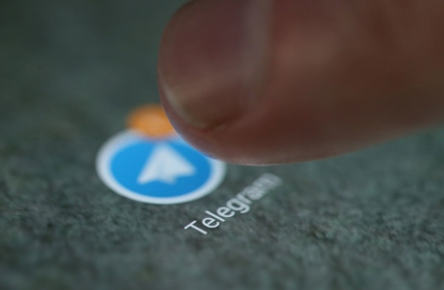 The Telegram app logo is seen on a smartphone in this picture illustration taken September 15, 2017. REUTERS/Dado Ruvic/Illustration
