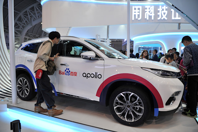 FUZHOU, CHINA - MAY 06: A Baidu Apollo vehicle is on display at the Baidu stand during the 2nd Digital China Summit & Exhibition at Fuzhou Strait International Conference & Exhibition Center on May 6, 2019 in Fuzhou, Fujian Province of China. The 2nd Digital China Summit with the theme of 'IT application: new growth drivers for new developments and achievements' is held on May 6-8 in Fuzhou. (Photo by Visual China Group via Getty Images/Visual China Group via Getty Images)